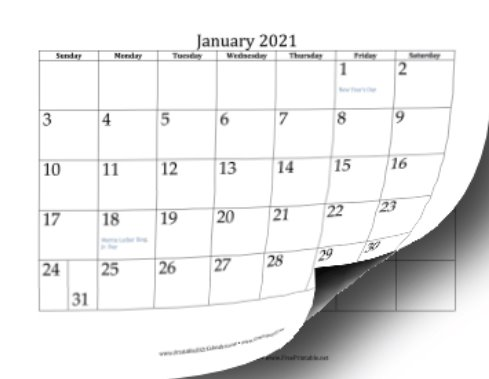 2021 Printable Calendars - 12 Pages