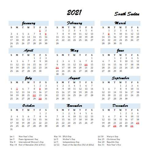 2021 South Sudan Calendar Template 2