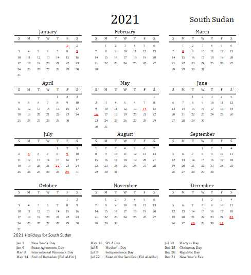 2021 South Sudan Calendar Template 3