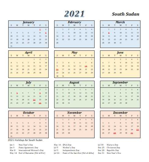 2021 South Sudan Calendar Template 4