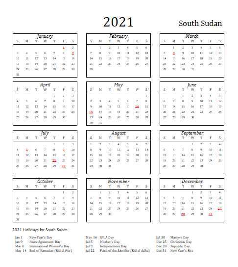 2021 South Sudan Calendar Template 5
