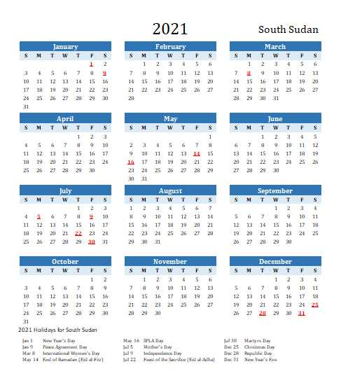 2021 South Sudan Calendar Template 6