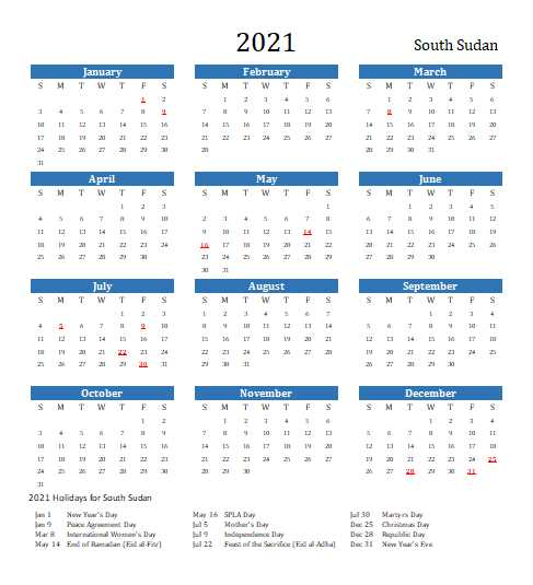2021 South Sudan Calendar Template 7