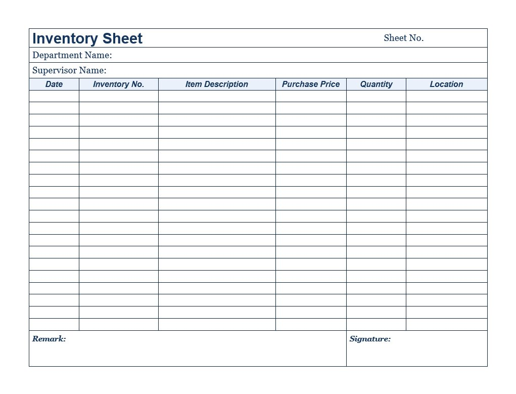 2021 business inventory recording template