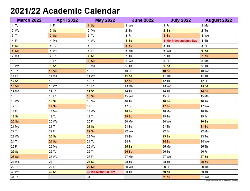 Academic Calendars 2021-22 In Landscape Template 2