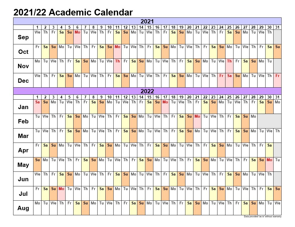 Academic Calendars 2021-22 In Landscape Template 3