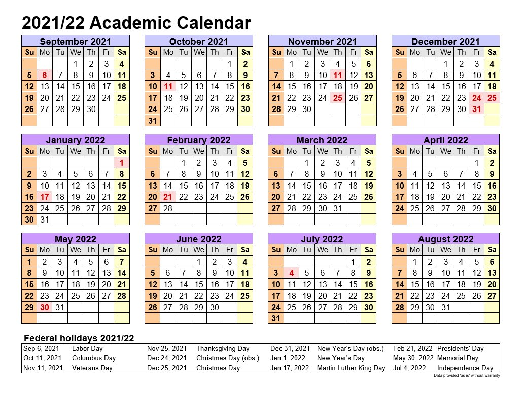 Academic Calendars 2021-22 In Landscape Template 4