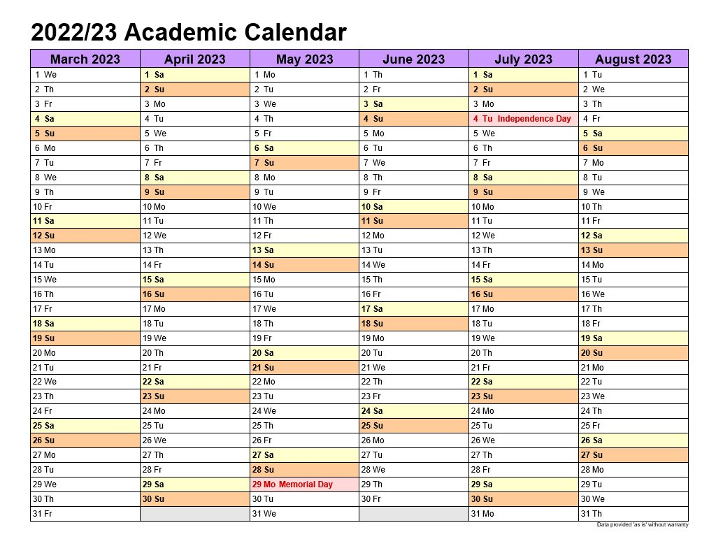 Academic Calendars 2022-23 In Landscape Template 2