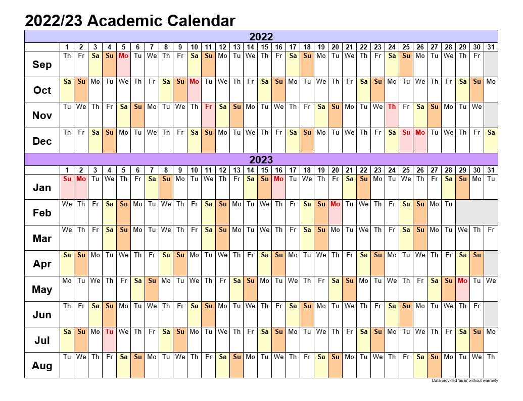 Academic Calendars 2022-23 In Landscape Template 3