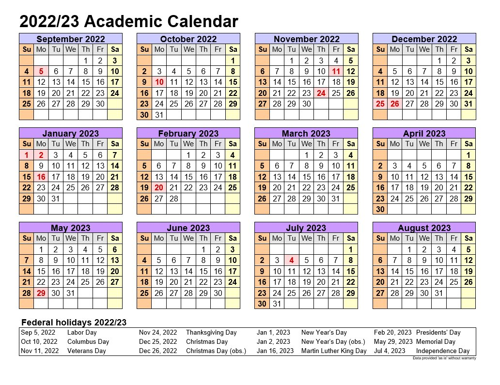 Academic Calendars 2022-23 In Landscape Template 4