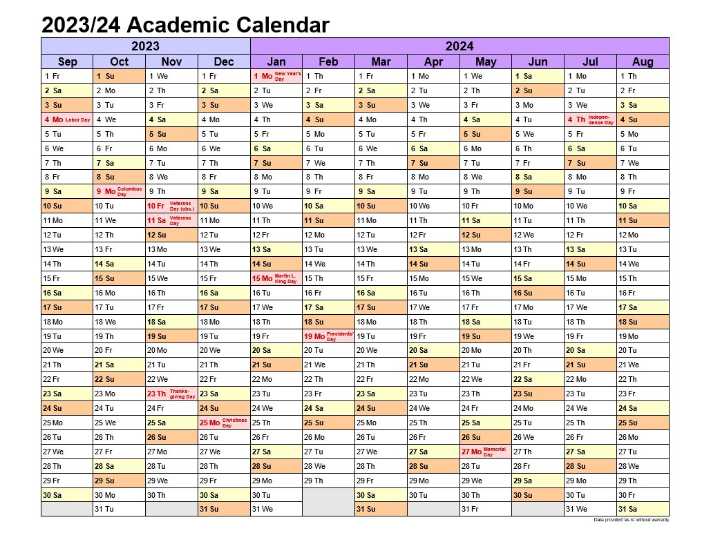 Academic Calendars 2023-24 In Landscape Template 1