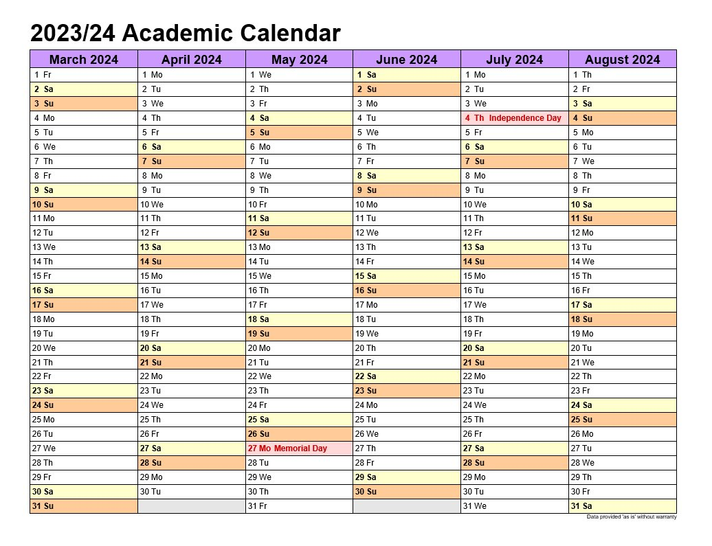 Academic Calendars 2023-24 In Landscape Template 2