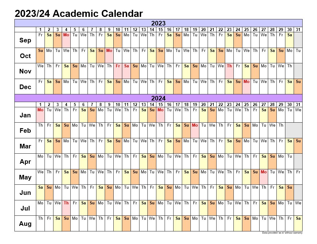 Academic Calendars 2023-24 In Landscape Template 3
