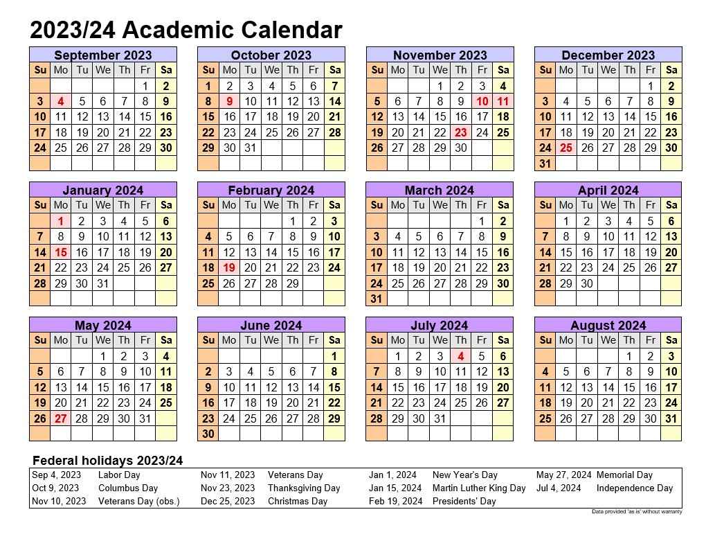 Academic Calendars 2023-24 In Landscape Template 4