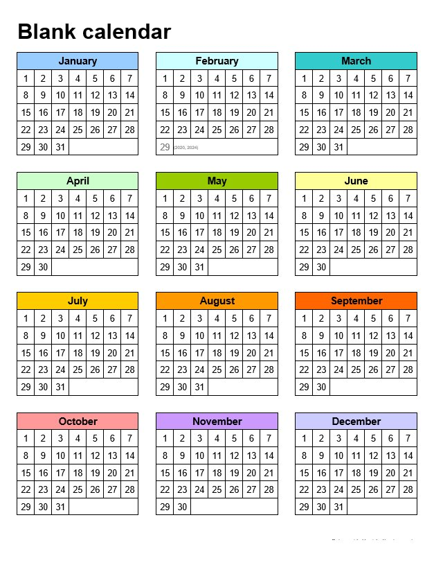 Blank Calendar Templates In Portrait Template 5