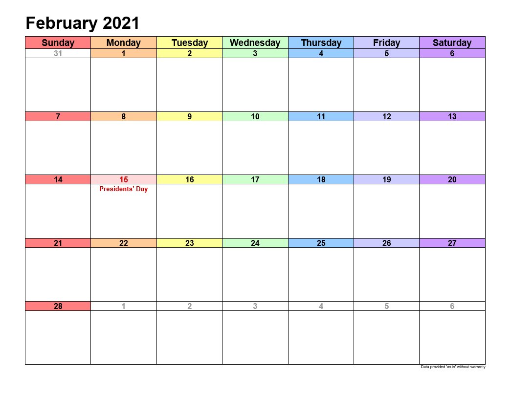 February 2021 Calendar In Landscape Template 1