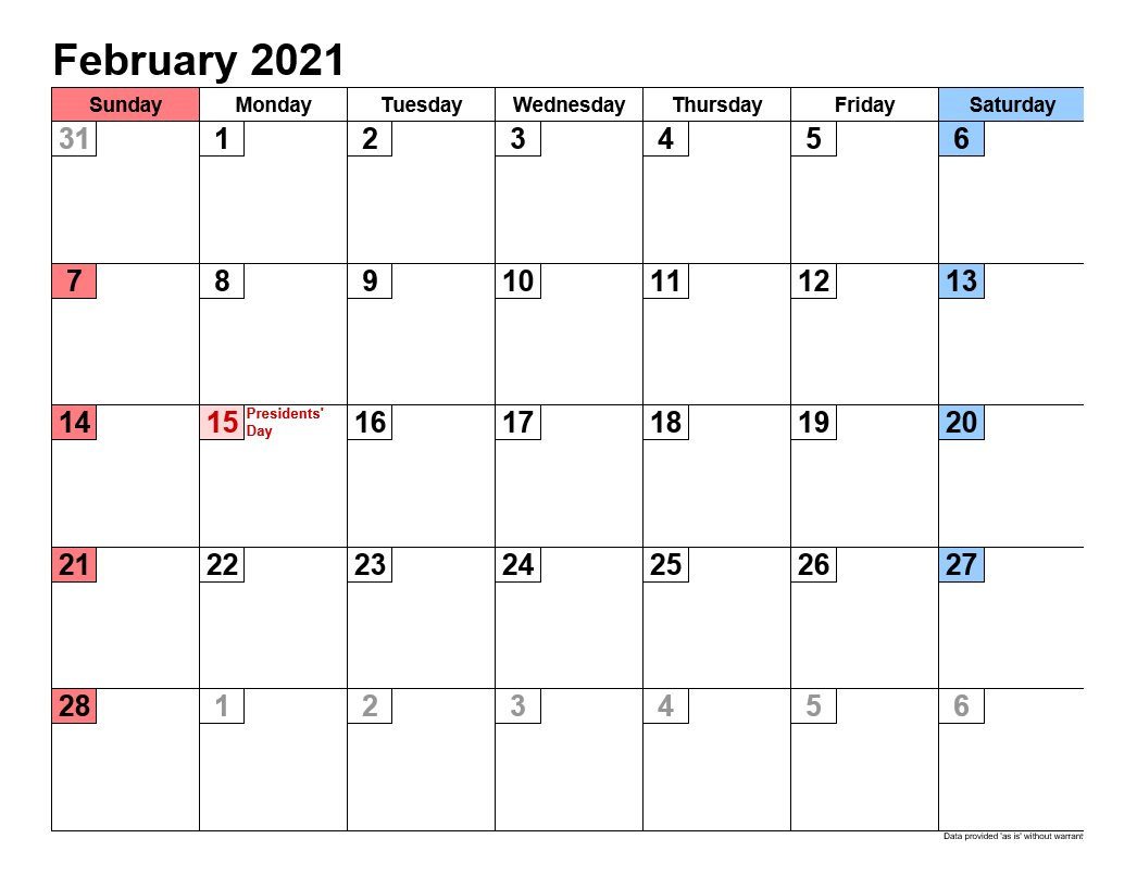 February 2021 Calendar In Landscape Template 2
