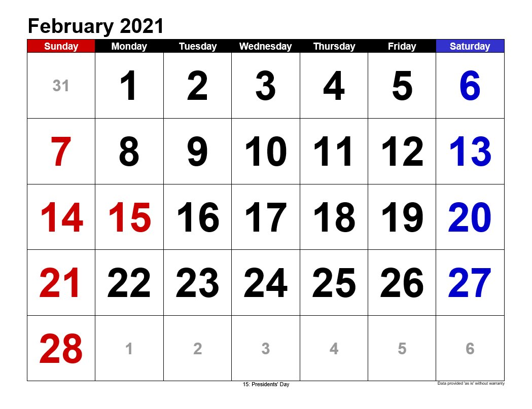 February 2021 Calendar In Landscape Template 3