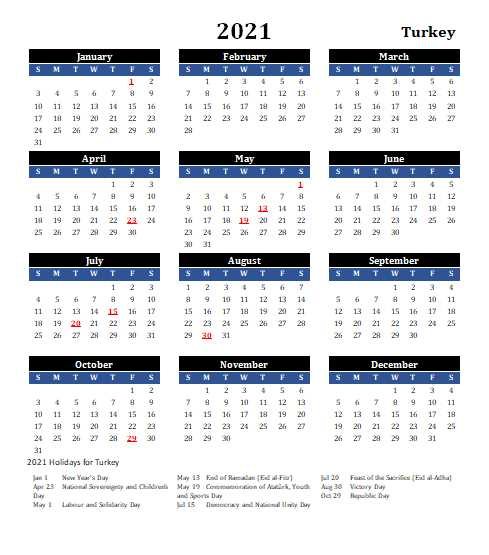 Turkey 2021 Calendar Template 1