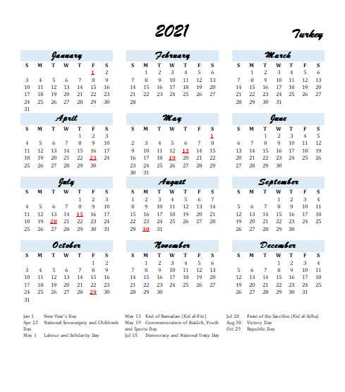 Turkey 2021 Calendar Template 2