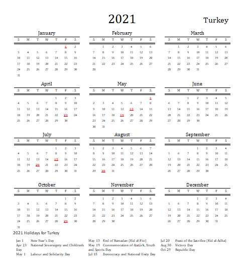 Turkey 2021 Calendar Template 3
