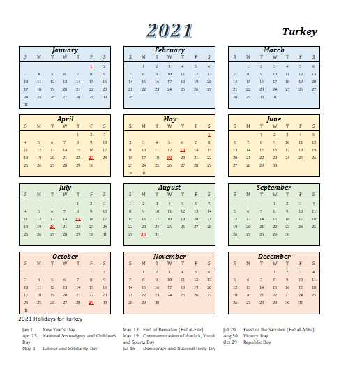 Turkey 2021 Calendar Template 4