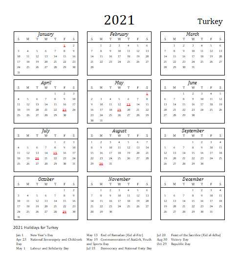Turkey 2021 Calendar Template 5