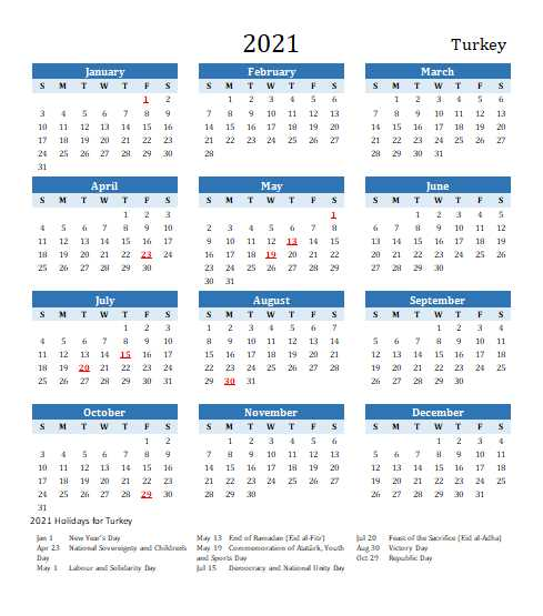 Turkey 2021 Calendar Template 6