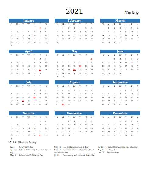 Turkey 2021 Calendar Template 7